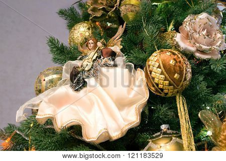 new year decoration on christmas tree