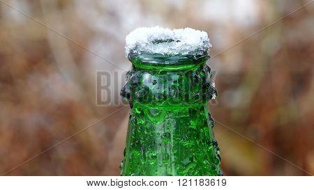 beer bottle neck on top of ice frozen