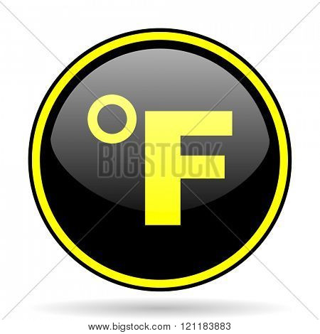 fahrenheit black and yellow modern glossy web icon