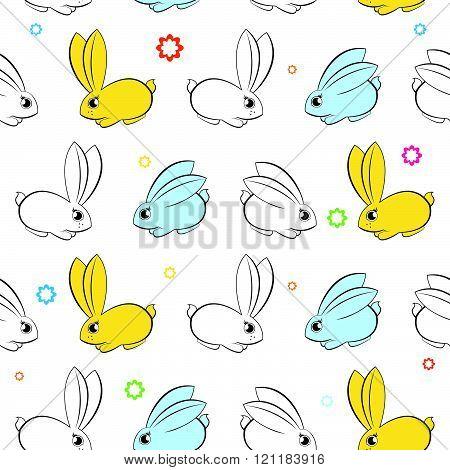 Vector Seamless Wallpaper. Easter Bunnies