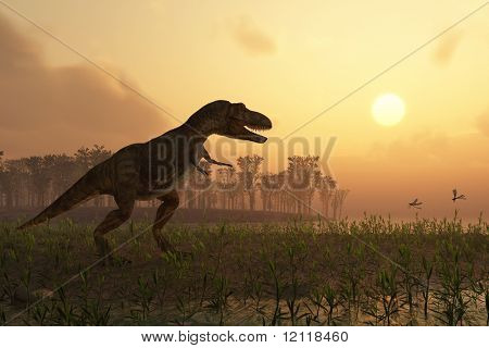 Dinosaurier in Landschaft