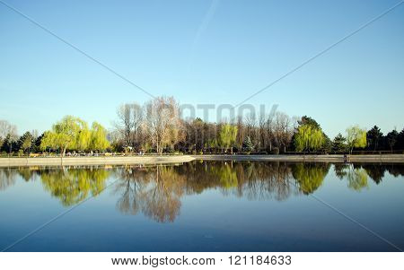 A lake in Olimpia Park Ploiesti Romania