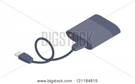 Charger vector isometric flat icon. Isometric icon Charger vector. Charger isolated on white. Business technology equipment icon. Charger infographic icon.