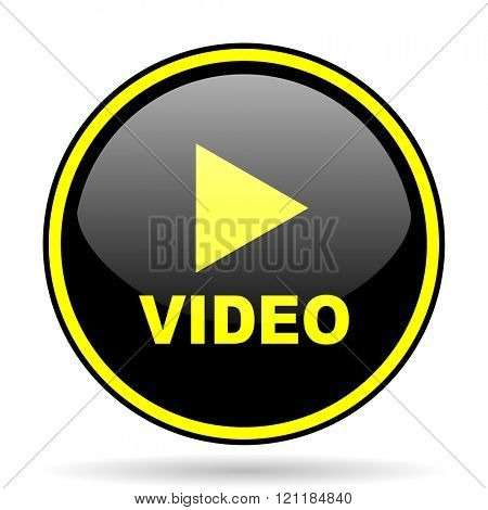 video black and yellow modern glossy web icon