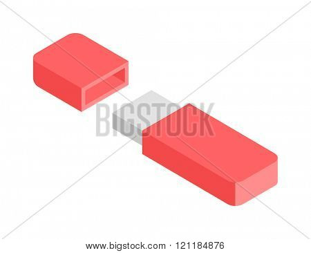 Flash Drive flat 3d isometric graphic vector. Red usb flash drive. Flash Drive flat 3d digital electronic device. Electronic flash drive information equipment. Electronic flash drive usb accessory.