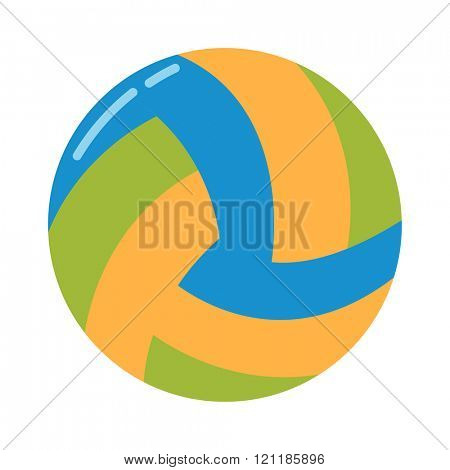 Dark blue, yellow volleyball ball on a white background vector illustration. Volleyball ball vector, Volleyball ball sport equipment. Volleyball ball leather icon isolated.