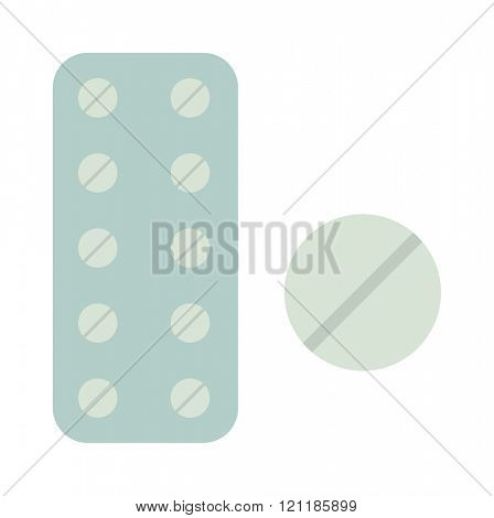 Medicine in tablet package vector illustration on white background. Tablet package isolated container. Tablet package isolated pharmaceutical. Pharmacy pill health vector.