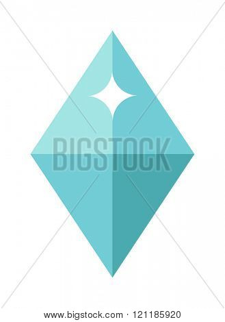 Flat design Blue gemstone illustration  Colored gemstone isolated on white background. Blue  tourmaline gemstone isolated on white background. Blue gemstone jewellery shiny gem.