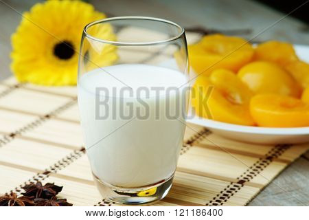 Milk,peaches and gerber on the wooden table
