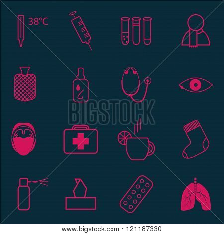 Set Of Medical Icons On The Theme Of Cold
