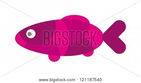 Fish flat icon vector isolated on white background. Vector image of funny cartoon smiling fish flat. Fish flat animal water life symbol. Fish flat cartoon animal. Fish flat vector.
