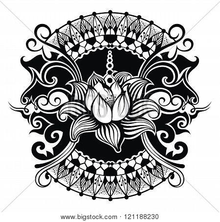 Beautiful lotus flower line illustration. Tattoo lotus