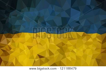 Ukrain hight poly triangulate flag.