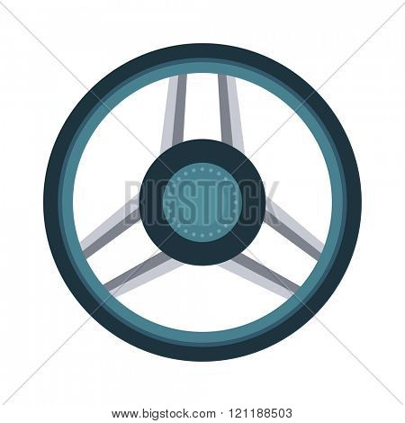 Car rudder wheel vector illustration. Car rudder wheel isolated on white background. Car rudder wheel vector icon illustration. Car rudder wheel isolated vector. Car rudder wheel silhouette
