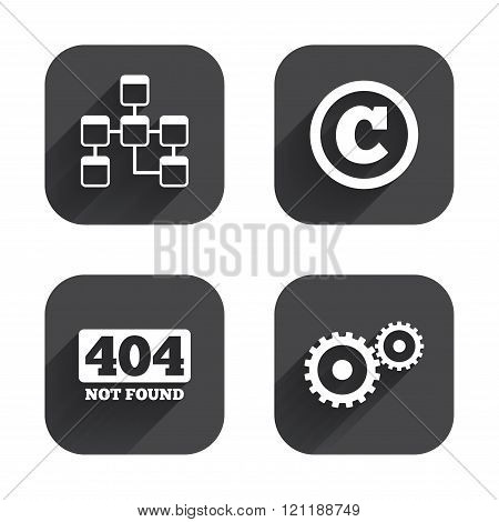 Website database icon. Copyrights and repair.