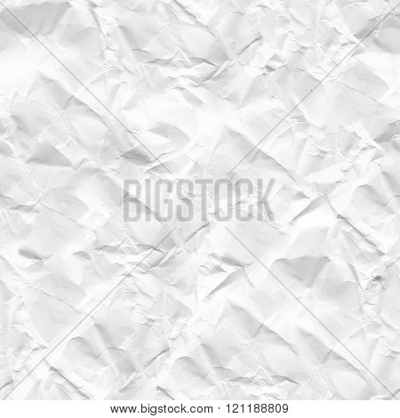 White crumpled paper seamless texture