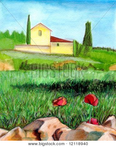 Watercolor landscape. Suitable for wine labels. Hand drawn illustration