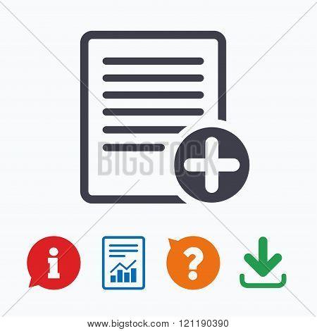 Text file sign icon. Add File document symbol.