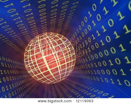 Binary code stream, glowing wireframe sphere. CG illustration.