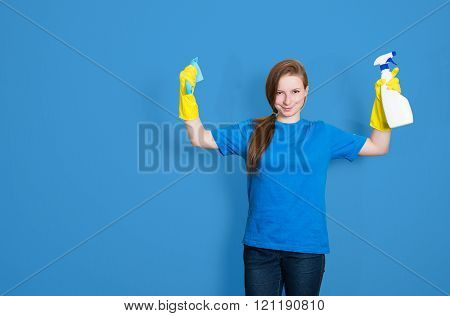 Maid Cleaning Woman With Cleaning Spray Bottle. Cleaning Service. Portrait Of Beautiful Cleaning Gir