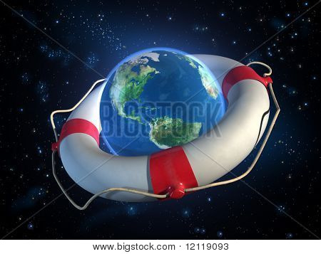 Planet Earth and a lifesaver in space. CG illustration.
