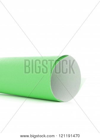 Green paper message tube scroll side isolated on white background