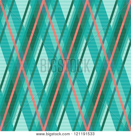 Seamless Rhombic Pattern In Turquoise And Red