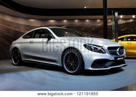 GENEVA, SWITZERLAND - MARCH 1: Geneva Motor Show on March 1, 2016 in Geneva, Mercedes-AMG C 63 S Coupe, front view