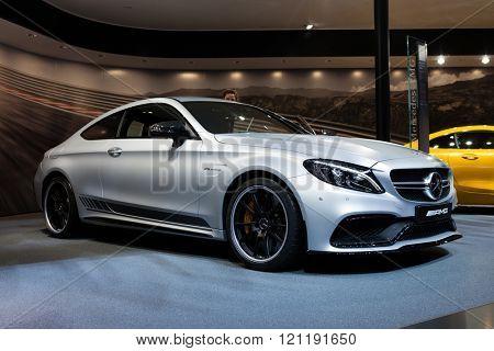 GENEVA, SWITZERLAND - MARCH 1: Geneva Motor Show on March 1, 2016 in Geneva, Mercedes-AMG C 63 S Coupe, front view
