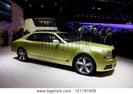 GENEVA, SWITZERLAND - MARCH 1: Geneva Motor Show on March 1, 2016 in Geneva, Bentley Mulsanne Speed, side view