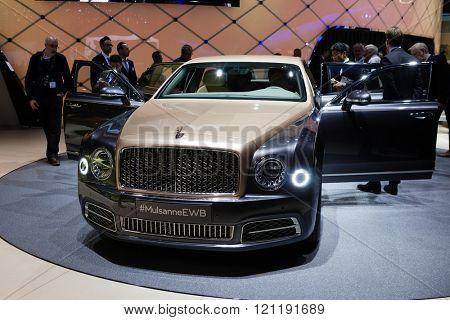 GENEVA, SWITZERLAND - MARCH 1: Geneva Motor Show on March 1, 2016 in Geneva, Bentley Mulsanne EWB, front view