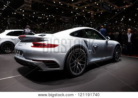 GENEVA, SWITZERLAND - MARCH 1: Geneva Motor Show on March 1, 2016 in Geneva, Porsche 911 Turbo S, rear-side view