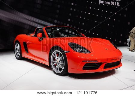 GENEVA, SWITZERLAND - MARCH 1: Geneva Motor Show on March 1, 2016 in Geneva, Porsche 718 Boxster, front-side view