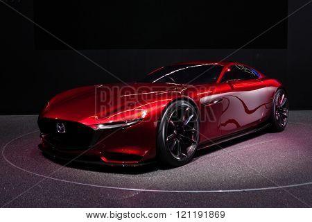 GENEVA, SWITZERLAND - MARCH 1: Geneva Motor Show on March 1, 2016 in Geneva, Mazda RX-Vison Concept, front-side view