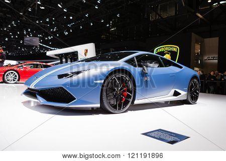 GENEVA, SWITZERLAND - MARCH 1: Geneva Motor Show on March 1, 2016 in Geneva, Lamborghini Huracan LP 610-4 Avio, front-side view