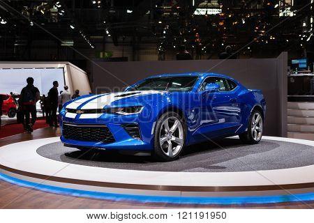 GENEVA, SWITZERLAND - MARCH 1: Geneva Motor Show on March 1, 2016 in Geneva, Chevrolet Camaro, front-side view