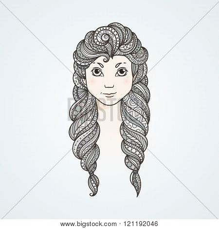 Portrait of a cute long-haired girl with braids and a stern look