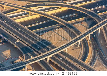 Top View Of Highway Interchange In Dubai