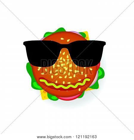 Hamburger With Sunglasses Illustration