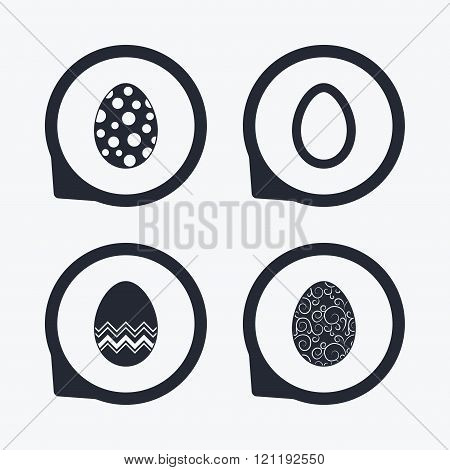 Easter eggs signs. Circles and floral patterns.