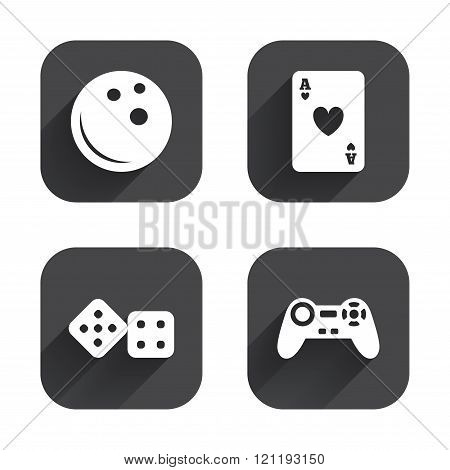 Bowling and Casino signs. Video game joystick.