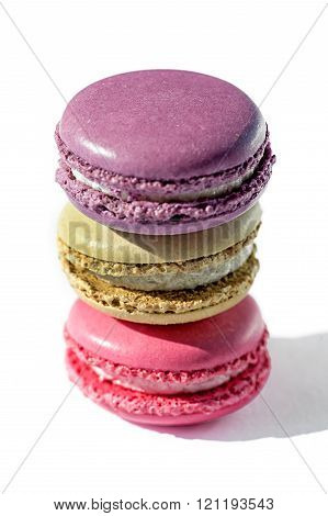 Trio Of Colorful Stacked Macarons