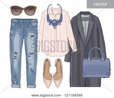 Lady fashion set of autumn season outfit. Illustration stylish and trendy clothing. Coat, pants, sun