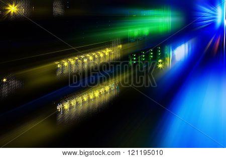 futuristic photo supercomputer in data center