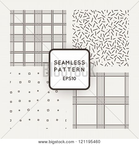 Set of vector seamless pattern of intersecting lines, chips and lozenges