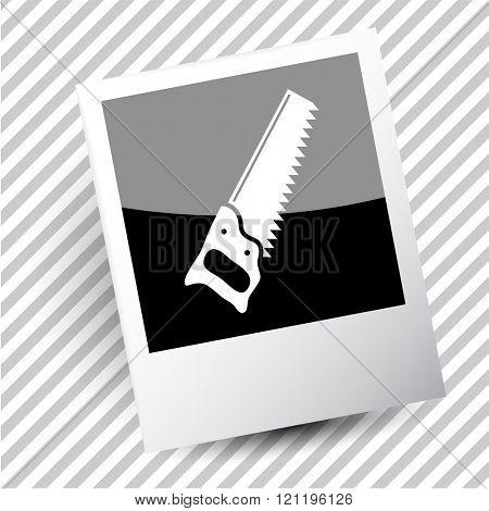 saw. Photoframe. Raster icon.