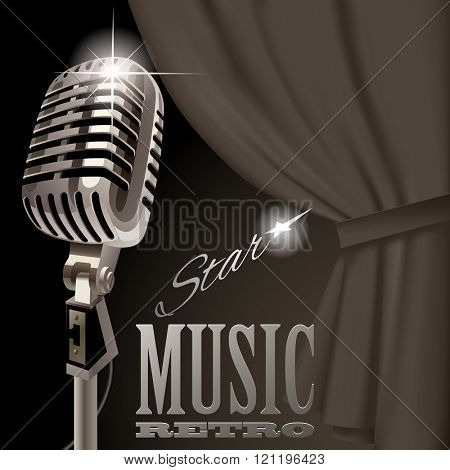 Retro microphone on the curtain background in dark vintage colors. Retro music cover and poster concept design. Vector illustration