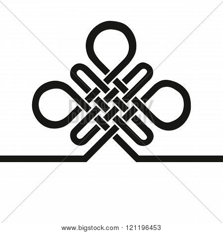 Auspicious Endless knot.Buddhist symbol.Black template
