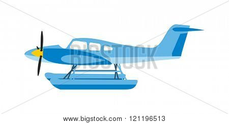 Light aircraft single propeller blue plane. Isolated white background light aircraft. Blue plan. Light blue plan. Light aircraft blue plan. Blue plan vector