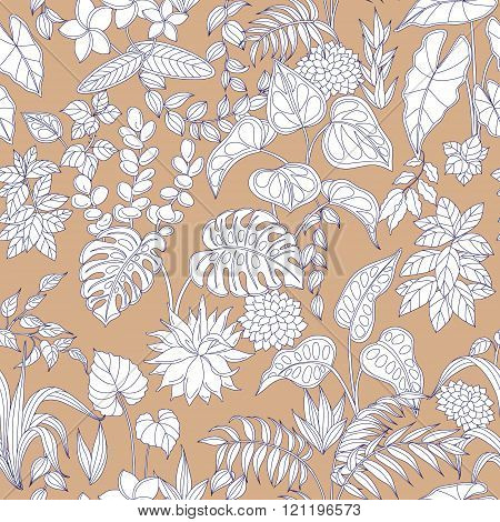 Pattern With Contoured Leaves And Flowers